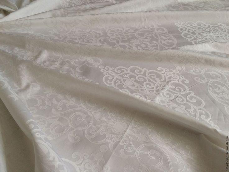 """Купить Ткань САТИН Жаккард """" Белоснежные узоры"""" 240 см - белый, сатин"""