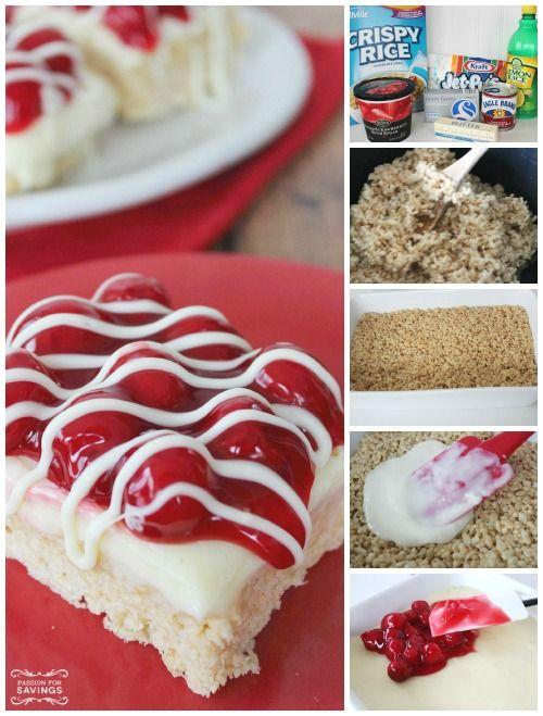 Cherry Cheesecake Krispie Treat Bars Recipe! | http://www.passionforsavings.com/2014/12/cherry-cheesecake-krispie-treat-bars-recipe/
