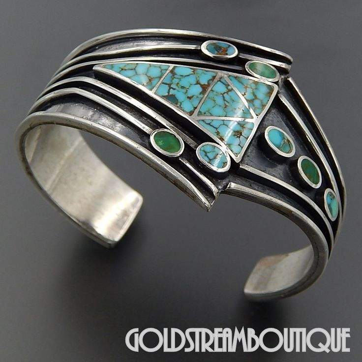 Native American Navajo Sterling Silver Turquoise Inlay Contemporary Arrow Ribbed Cuff Bracelet Jewelry Turquoise Pinterest Turquoise