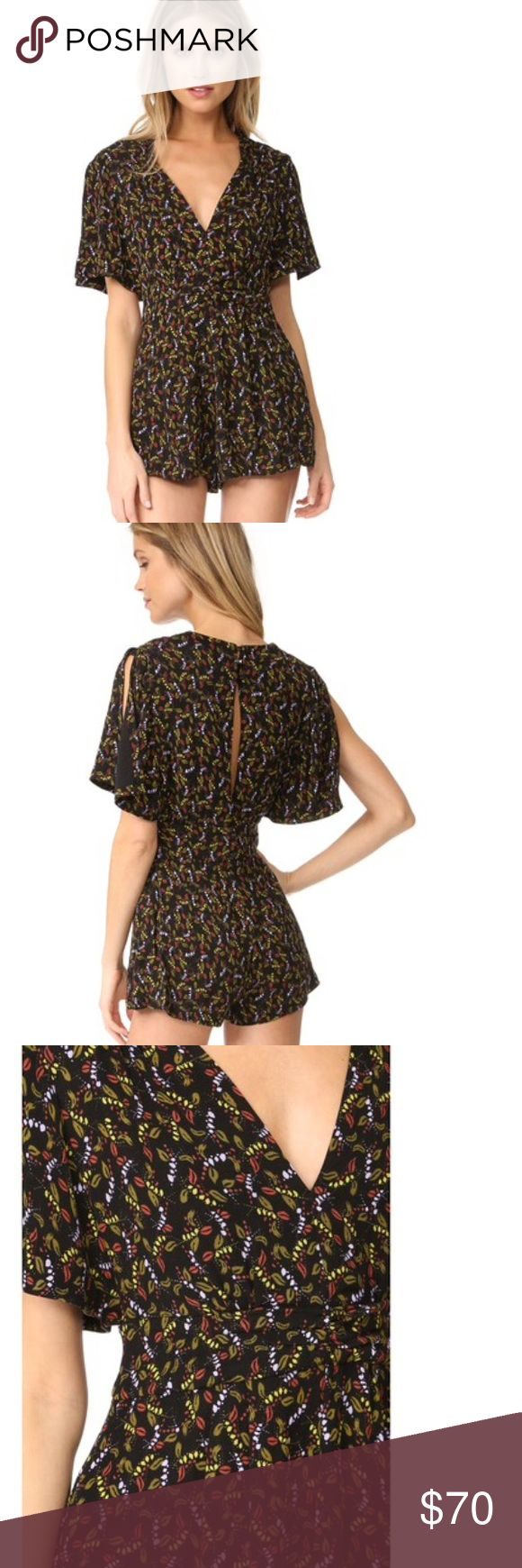 Sexy Free People Romper Dress in this Free People Romper!  Deep V neckline  Divided back panel with button closure.  On-seam hip pockets.  Hidden side zip. Floral ditsy colorful leaf flower print  65% viscose/35% rayon. Size 4. Fits 2 6 small xs  It's romper season! Playsuits for spring and summer dates, parties, BBQs, beaches, brunch or causal outings! Super cute! And sexy! Fun! Jumpsuit shorts Free People Dresses