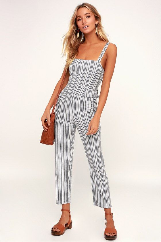 230117bd73ee Lookout White and Grey Striped Tie-Back Jumpsuit