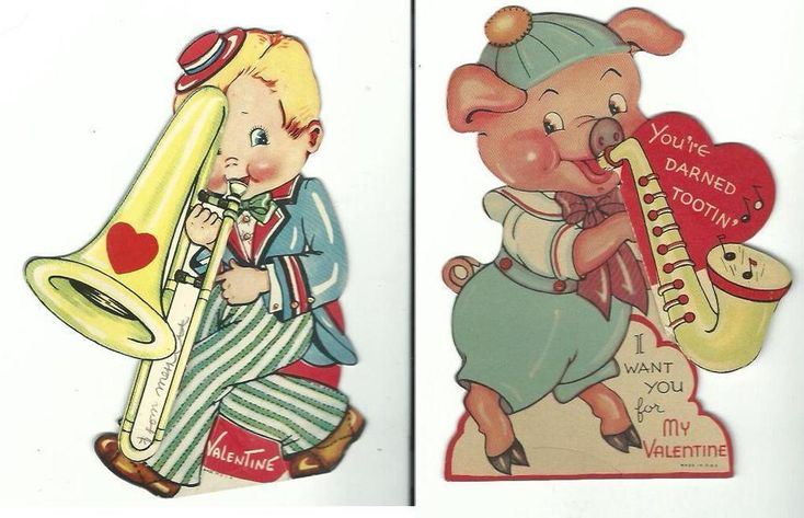 2 Vintage Large Valentine Cards Pull outs Trombone Saxophone Pig Bow USA  | eBay