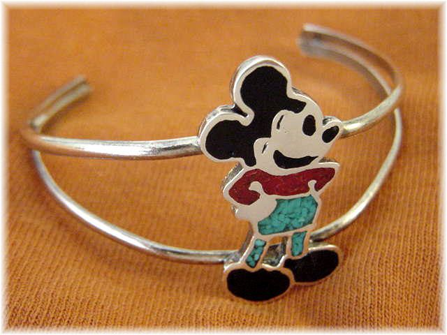 shoes for women with large feet Mickey Mouse  Sterling Silver Turquoise Coral Inlay Cuff Bracelet    s Enamel  FREE SHIPPING by FindMeTreasures on Etsy