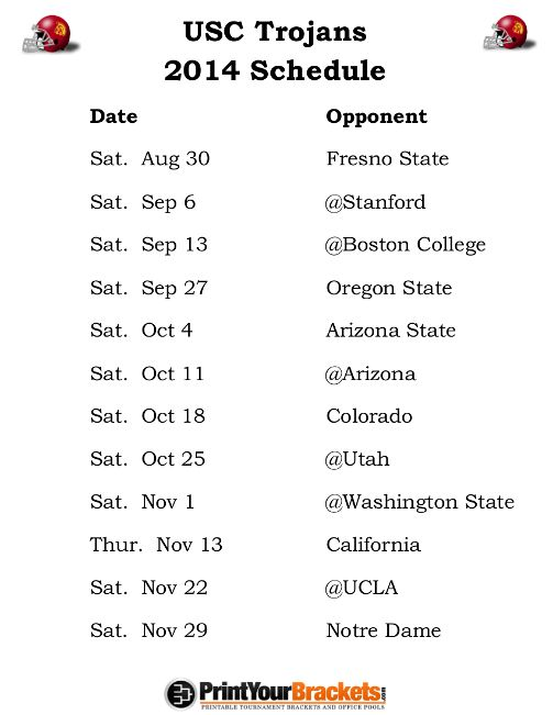 Printable USC Trojans Football Schedule 2014
