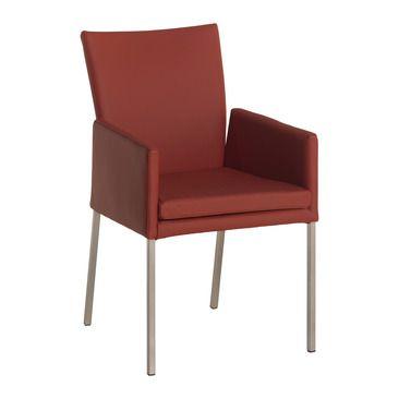 Stilvolles Ambiente ist Ihnen mit diesem Armlehnstuhl sicher. NICOLETTA präsentiert sich im zeitlosen Design und punktet mit höchster Qualität. Sitz, Rücken und Armlehnen sind gepolstert und sorgen für ein Maximum an Komfort. In Leder ausgeführt. Gestell in Edelstahl. In diversen anderen Farben erhältlich.