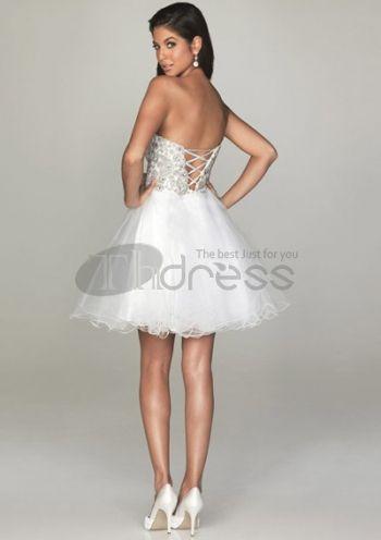 Goedkope Galajurken-A-lijn korte avondjurken witte sexy prom jurken