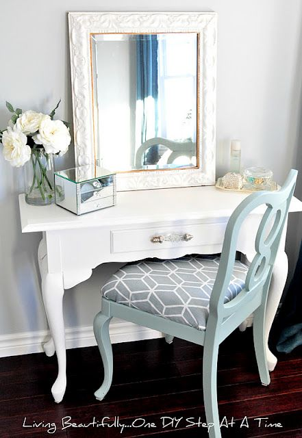 what a cute vanity idea - cute desk with even cuter chair. big mirror. voila, vanity!