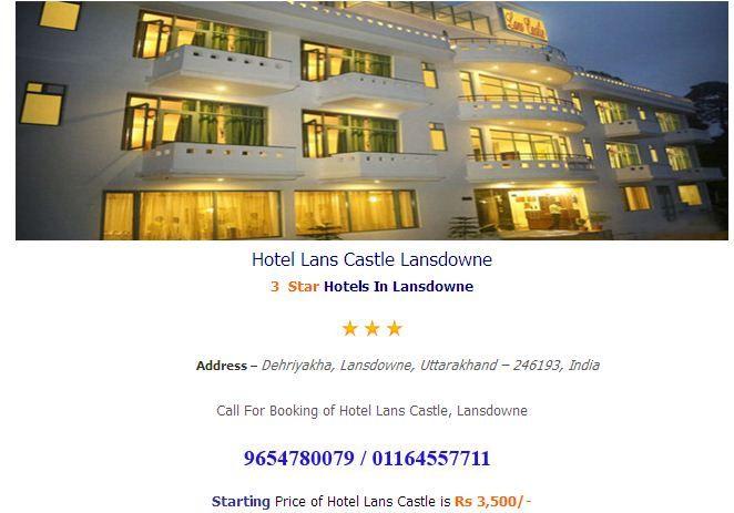 Hotel Lans Castle Lansdowne  online booking at http://www.hotelsinlansdowne.co.in/lansdowne-hotels