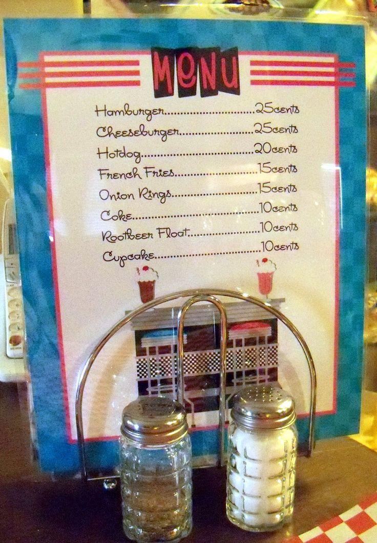 1950's Birthday Party Menu, 50's, sock hop, diner. $9.00, via Etsy.