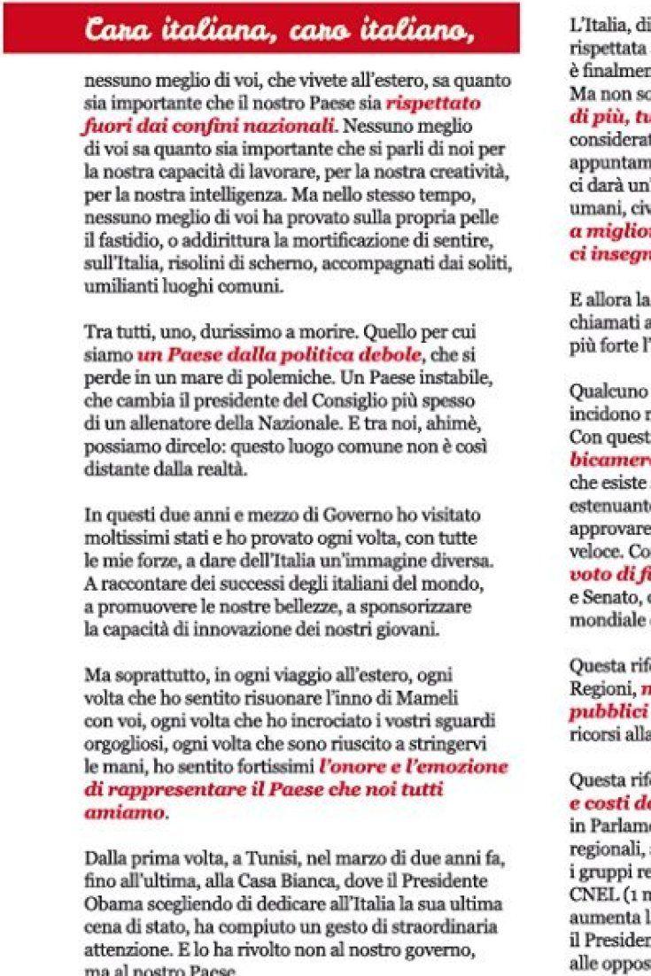 """Referendum, Renzi invia lettera per il Sì a italiani che votano allestero. Furia delle opposizioni: """"E reato"""""""