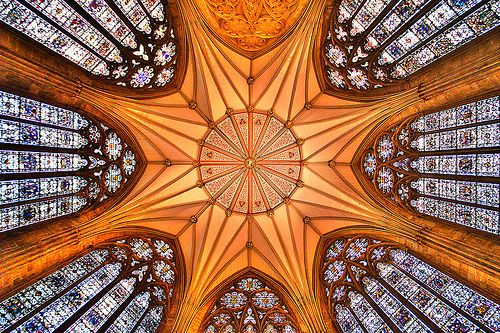 The ceiling of the chapter house in York Minster Cathedral.  I can almost hear the music of the spheres...  Wow!
