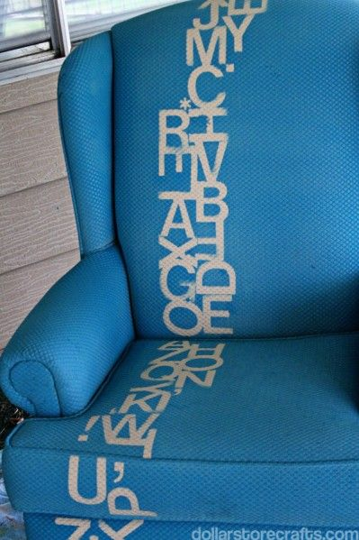 stenciled chair  ---  would be cute on a comforter, or pillow --ah, the ideas . . . :)