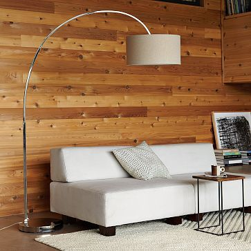 West Elm Linen-Shade Overarching Floor Lamp, $249 via WestElm.Com --- I love this kind of look in a lamp. It adds drama in addition to being functional. And this particular model is a riff on a retro classic!