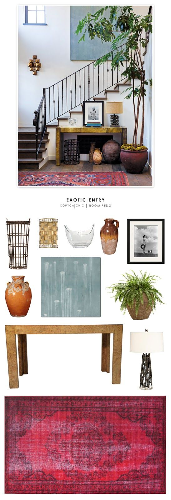 An eclectic, exotic entryway designed by Vanessa Alexander and recreated for less by Copy Cat Chic by @audreycdyer