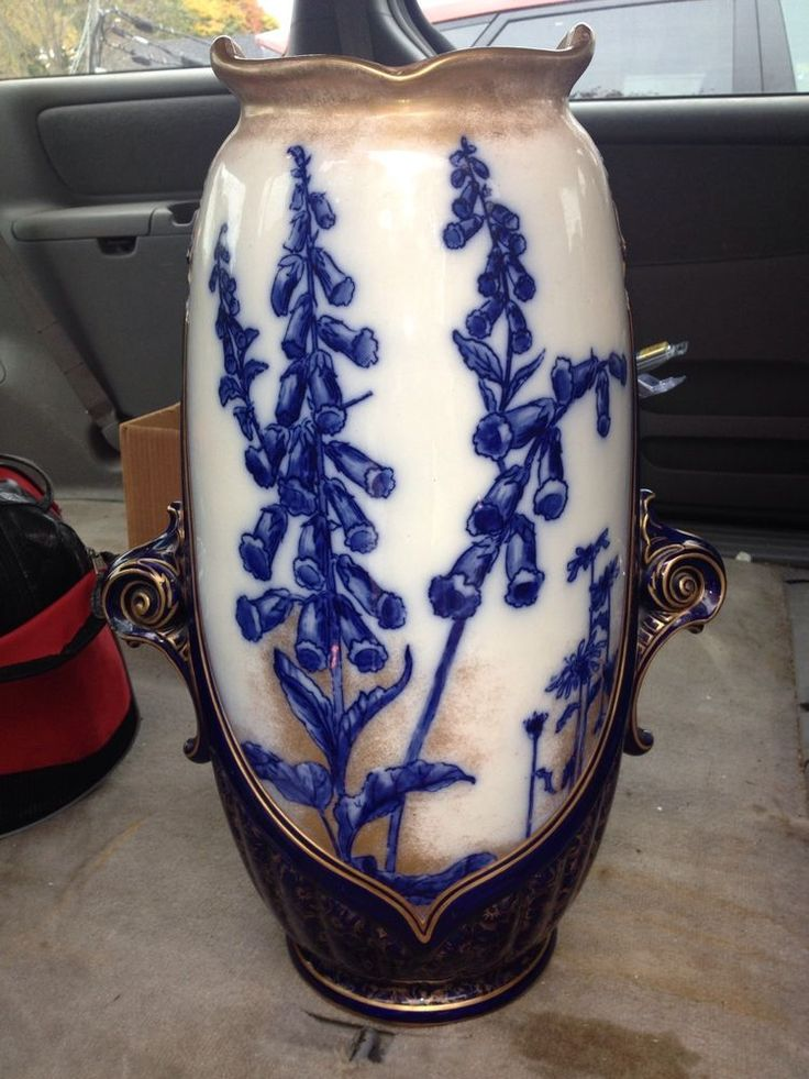 "Early 24"" Doulton Flow Blue Floor Vase Umbrella Stand W"