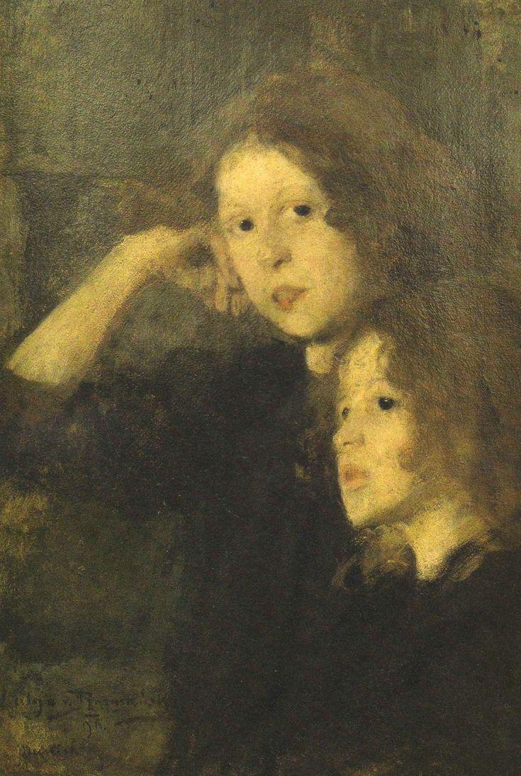 """Olga Boznańska """"Portret dwóch dziewczynek"""", 1896, olej na tekturze, 70 x 49,5 cm, Muzeum Śląskie, Katowice"""