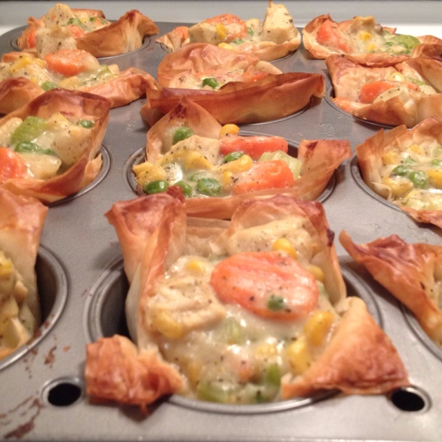 Fillo dough chicken pot pie cups! All from scratch!