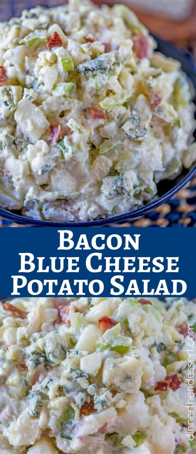 Bacon Blue Cheese Potato Salad takes the classic potato salad and kicks it up a notch with the flavors of bacon and blue cheese. This will be a summer bbq favorite!