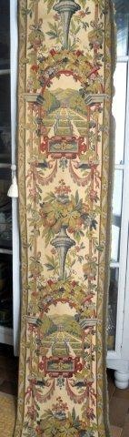 ANTIQUE FRENCH TAPESTRY CHATEAU -GARDEN- FOUNTAIN- FRUITS FLOWERS
