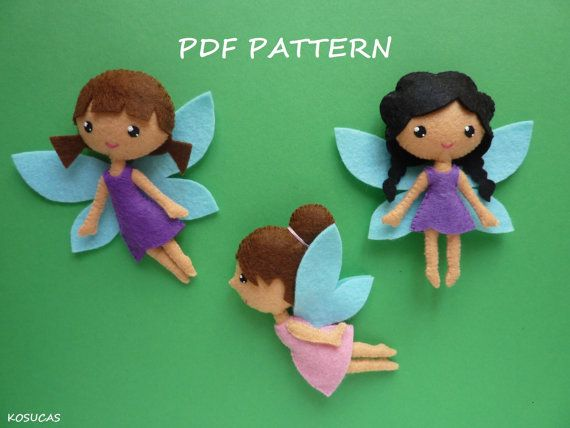 PDF pattern to make a felt small fairies. por Kosucas en Etsy