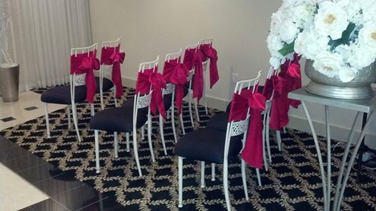 Red Sashes for a wedding at our Chapel