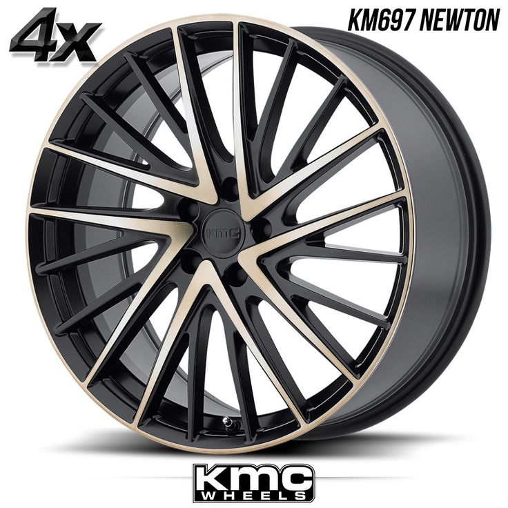"4 KMC KM697 Newton 19""x8.5"" 5x114.30 Black OFST:35mm 19 Inch Rims 19X8.5 Wheels"