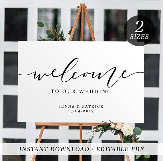Welcome To Our Beginning Sign Printable Wedding Template Rustic Signs File Size