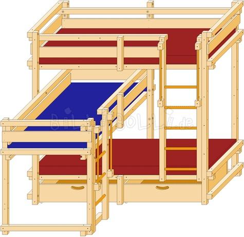 dreier bett ber eck kinder doppelbett stockbett bett kinder bett und kinderzimmer. Black Bedroom Furniture Sets. Home Design Ideas