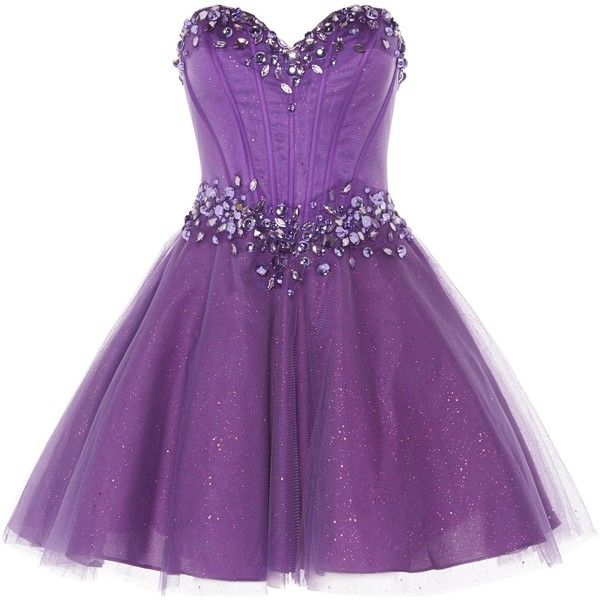 ANOUSHKA G Zoe corset style prom dress (£98) ❤ liked on Polyvore featuring dresses, short dresses, vestidos, purple, clearance, short strapless dresses, mini dress, strapless cocktail dresses and short prom dresses