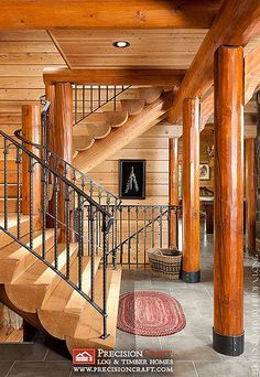 Log Home Custom Staircase   Half Log Stairs