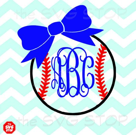 Baseball Or Softball With Bow Svg Dxf Jpg Png Eps Files