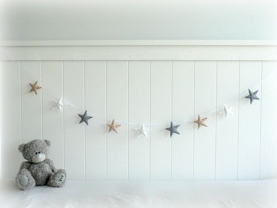 READY NOW - Star garland - felt star banner - light beige, gray and white - Neutral - Nursery decor