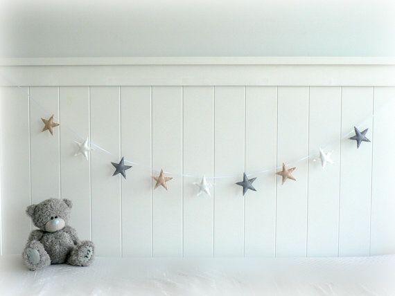 READY NOW - Star garland - felt star banner - light beige, gray and white - Neutral - Nursery decor