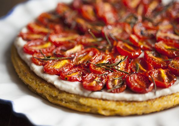 Polenta Tart with Garlicky White Bean Spread and Roasted Cherry Tomatoes