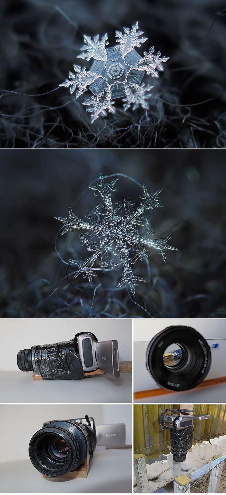 Photographer Tapes a $50 Lens To His Point&shoot Camera To Take Stunning Macro Snowflake Photos ( http://www.demilked.com/macro-snowflakes-diy-camera-alexey-kljatov/ )
