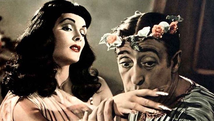 "Tamara Lees and Totò (Antonio De Curtis) in Mario Mattoli's ""Totò sceicco"" (Italian title: ""Totò sheik"", 1950)."