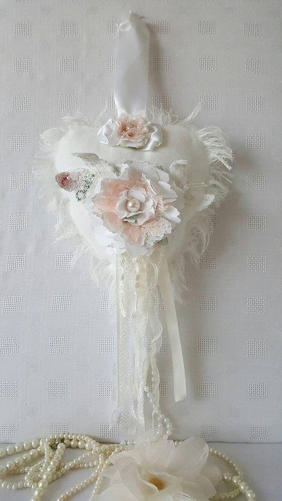 Shabby chic white fabric lace heart , Shabby chic decor