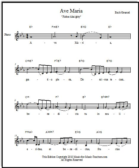 Free Ave Maria Sheet Music With Latin And English Words