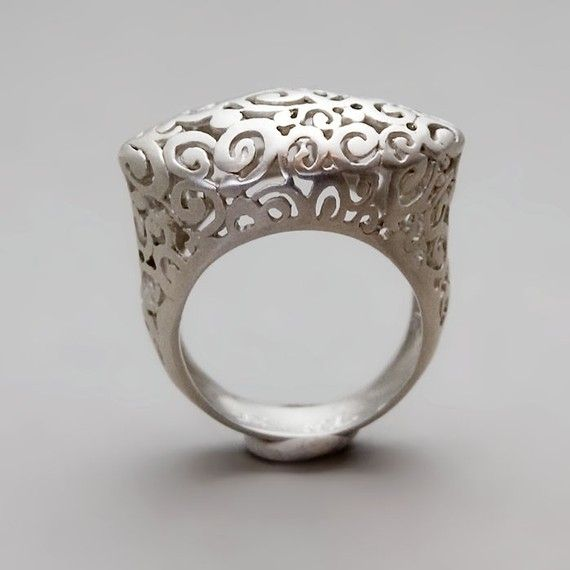 Crown Lace Ring - sterling silver statement ring made with ancient filigree technique
