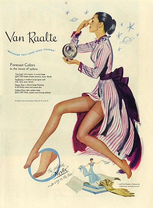 A great vintage ad for Van Raalte stockings. #vintage #stockings #hoisery