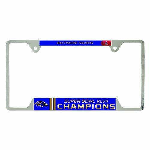 """NFL Baltimore Ravens Super Bowl XLVII Champions Metal License Plate Frame by WinCraft. $11.97. Made in USA. Two top mounting holes. Decorated with full color graphics. Perfect for the #1 fan. Vibrant Colors. Metal License Plate Frame is decorated with two full color inserts. The cast zinc frame is chrome plated .024 gauge aluminum embossed with two mounting holes on the top of the frame. Standard 6""""x12"""" size. Made in USA."""