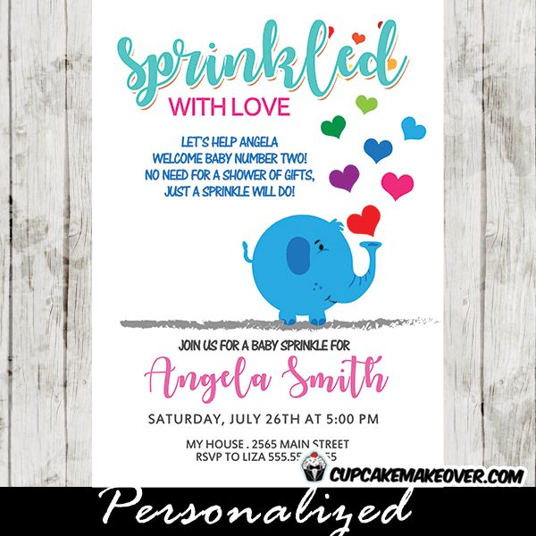 Adorable Elephant Baby Sprinkles Invitations featuring a blue elephant blowing rainbow colored heart against a white background. These baby sprinkle shower invitations are perfect for celebrating the second baby!