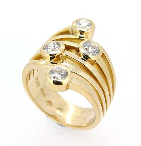 Multi Band Diamond Yellow Gold Dress Ring, via Flickr.