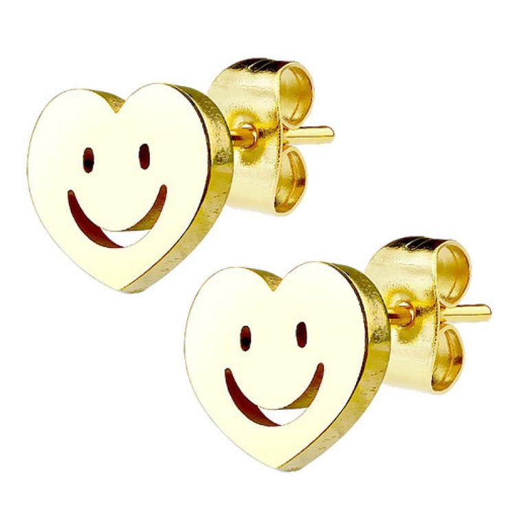 Ohrstecker Ohrringe Herz mit Smiley vergoldet