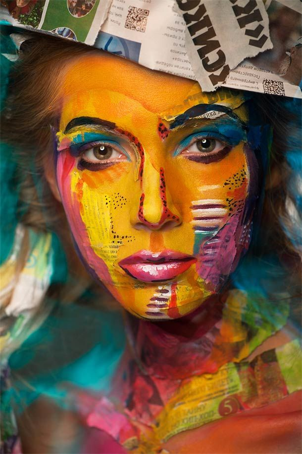 """stunning portraits, entitled """"2D or not 2D"""", created by Russian photographer Alexander Khokhlov in collaboration with the make-up artist Valeriya Kutsan, both based in Moscow."""