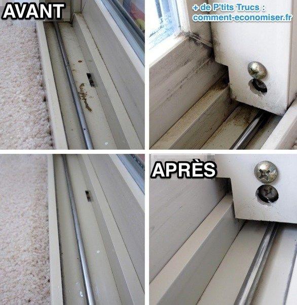 Rail fenêtre coulissante nettoyé