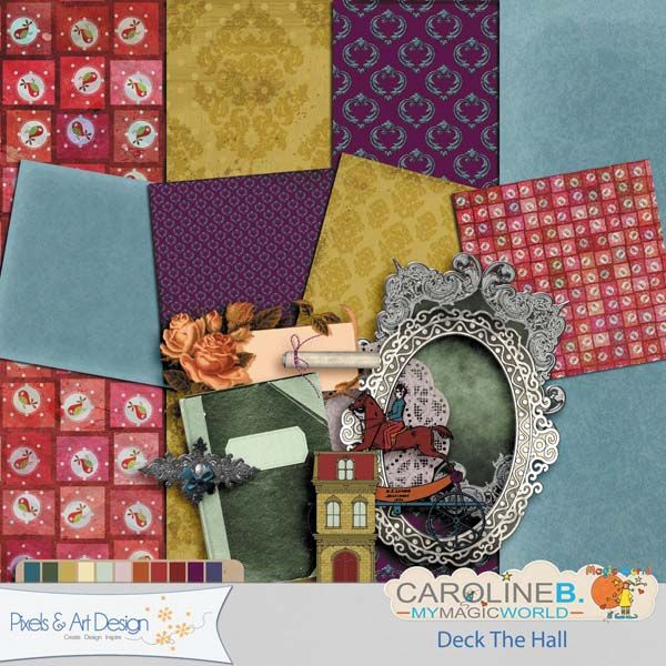 #PixelsAndArtDesign - Deck the Hall4 papers and 10 elements (frames, notebook, journaling, doilly, house, victorian toy, ...)      Buy Now http://www.pixelsandartdesign.com/store/index.php?main_page=product_info&products_id=3876