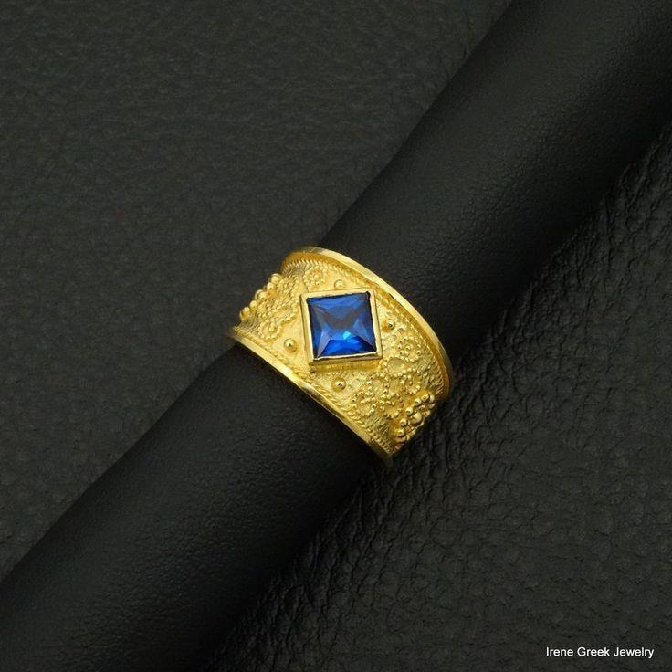 BLUE SAPPHIRE CZ BYZANTINE STYLE 925 STERLING SILVER 22K GOLD PLATED GREEK RING #IreneGreekJewelry #Band