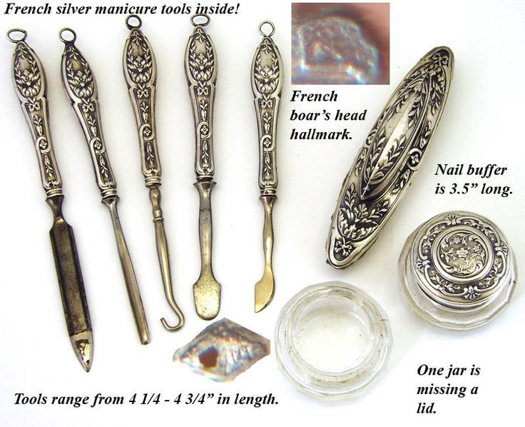 Antique french vanity chest 8pc sterling silver manicure