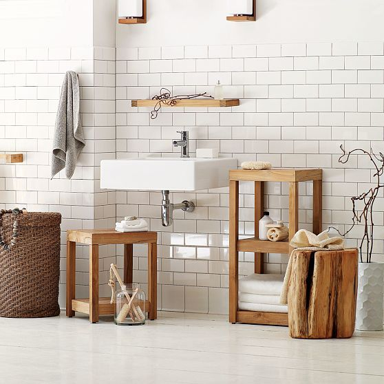 Subway tiles and teak bathroom furniture pair so well. Image from Mad About ... Metro Tiles | Mad About The House